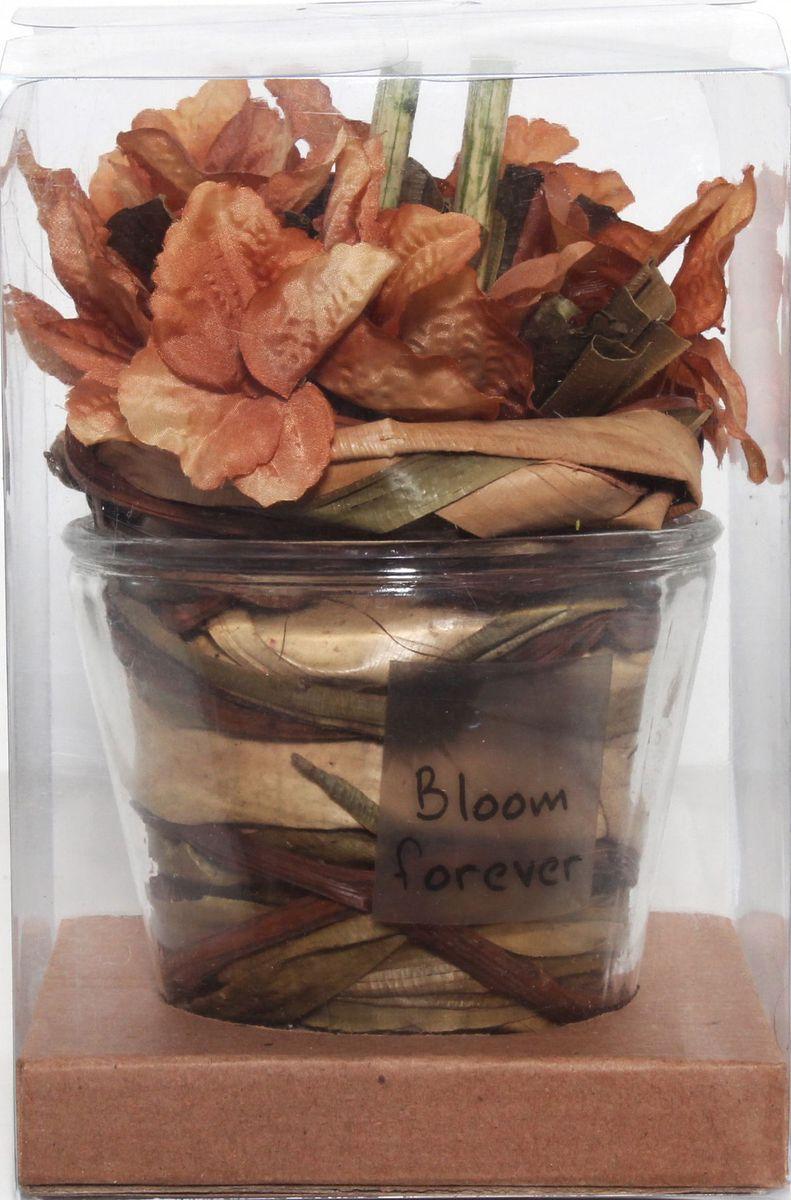 Декоративная композиция Magic Home Оранжевая, с сухоцветами сувенир декоративная композиция тропическая из искуственных цветов из стружки эшиномене и сухоцветов в стекляннной чаше 9 20см 44434