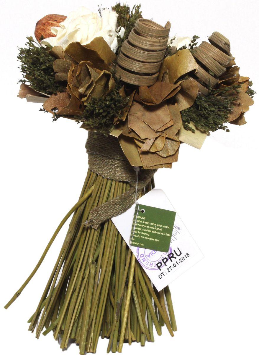Декоративный букет Magic Home Свежесть, с сухоцветами сувенир декоративная композиция тропическая из искуственных цветов из стружки эшиномене и сухоцветов в стекляннной чаше 9 20см 44434