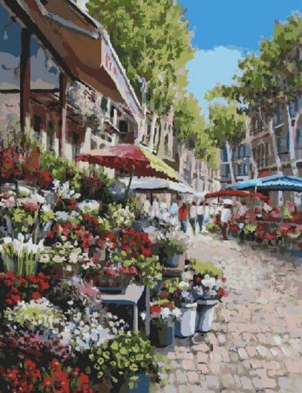 Набор для рисования по номерам Цветной Цветочный рынок, 40 х 50 см набор для рисования по номерам цветной милый котенок 40 х 50 см