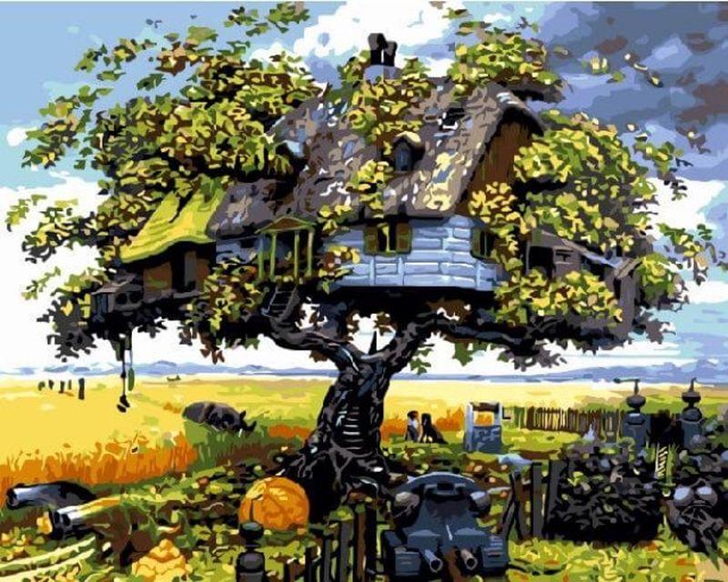 Набор для рисования по номерам Цветной Дом на дереве, 40 х 50 см набор для рисования по номерам цветной милый котенок 40 х 50 см