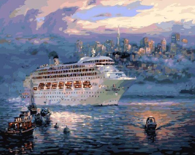Набор для рисования по номерам Цветной Океанский лайнер, 40 х 50 см набор для рисования по номерам цветной милый котенок 40 х 50 см