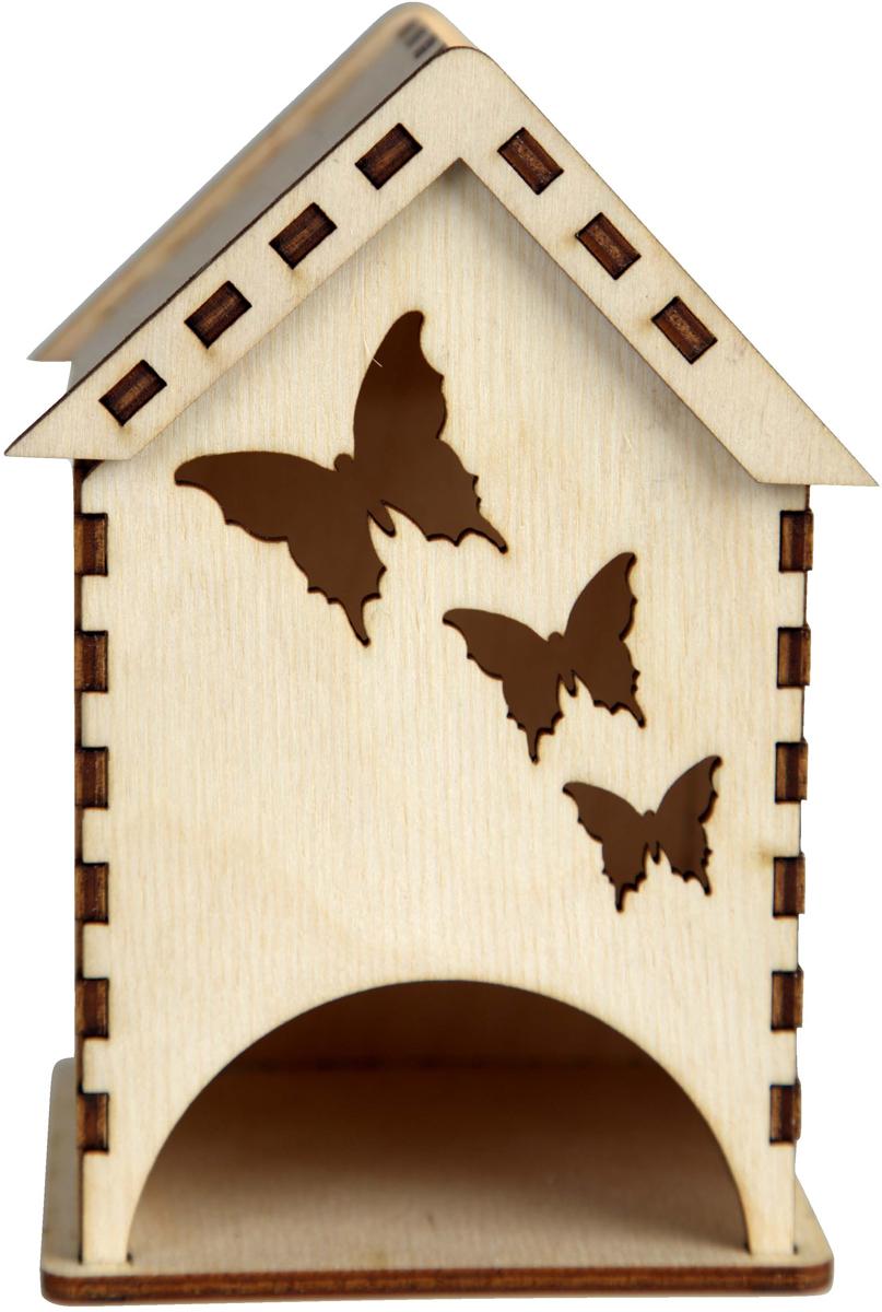 Заготовка деревянная Decoriton Чайный домик. Бабочки, 9,5 х 15 х 9,5 см деревянная заготовка мини комод с 6 ящиками no name 146309