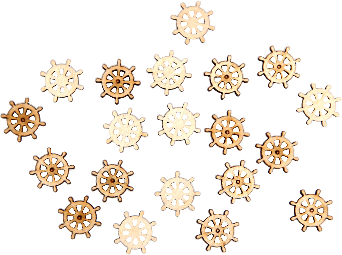 "Заготовка для декорирования Decoriton ""Штурвал"", 1,5 х 0,3 см, 20 шт"