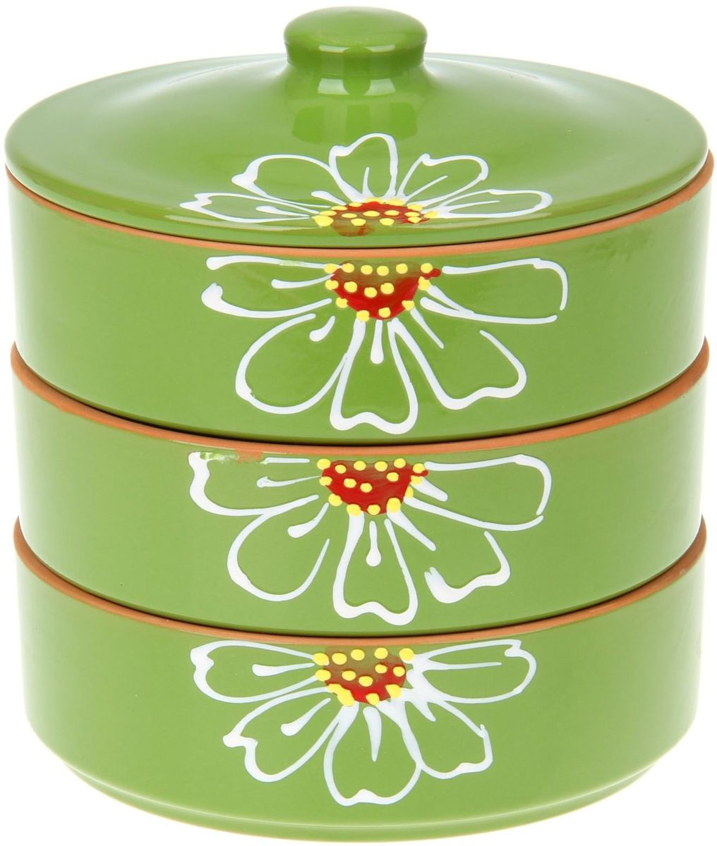 Набор блюд для холодца Псковский гончар Цветок, цвет: зеленый, 4 предмета миска псковский гончар праздничная
