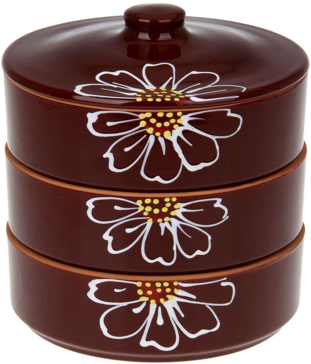 Набор блюд для холодца Псковский гончар Цветок, с крышкой, цвет: коричневый, 4 предмета миска псковский гончар праздничная