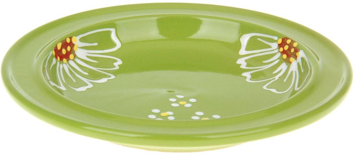 Тарелка Псковский гончар Орнамент, цвет: зеленый, диаметр 20 см миска псковский гончар праздничная