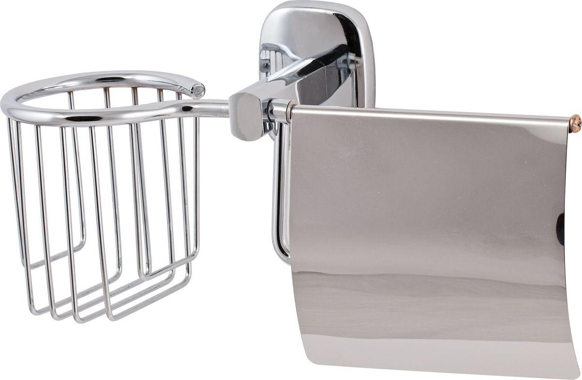 Держатель туалетной бумаги Del Mare 1500, с крышкой, цвет: хром ершик для унитаза del mare 1500 с подставкой настенный цвет хром