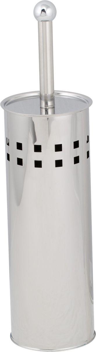 Ершик для унитаза Del Mare, с подставкой, цвет: хром. P803 ершик для унитаза del mare 1500 с подставкой настенный цвет хром