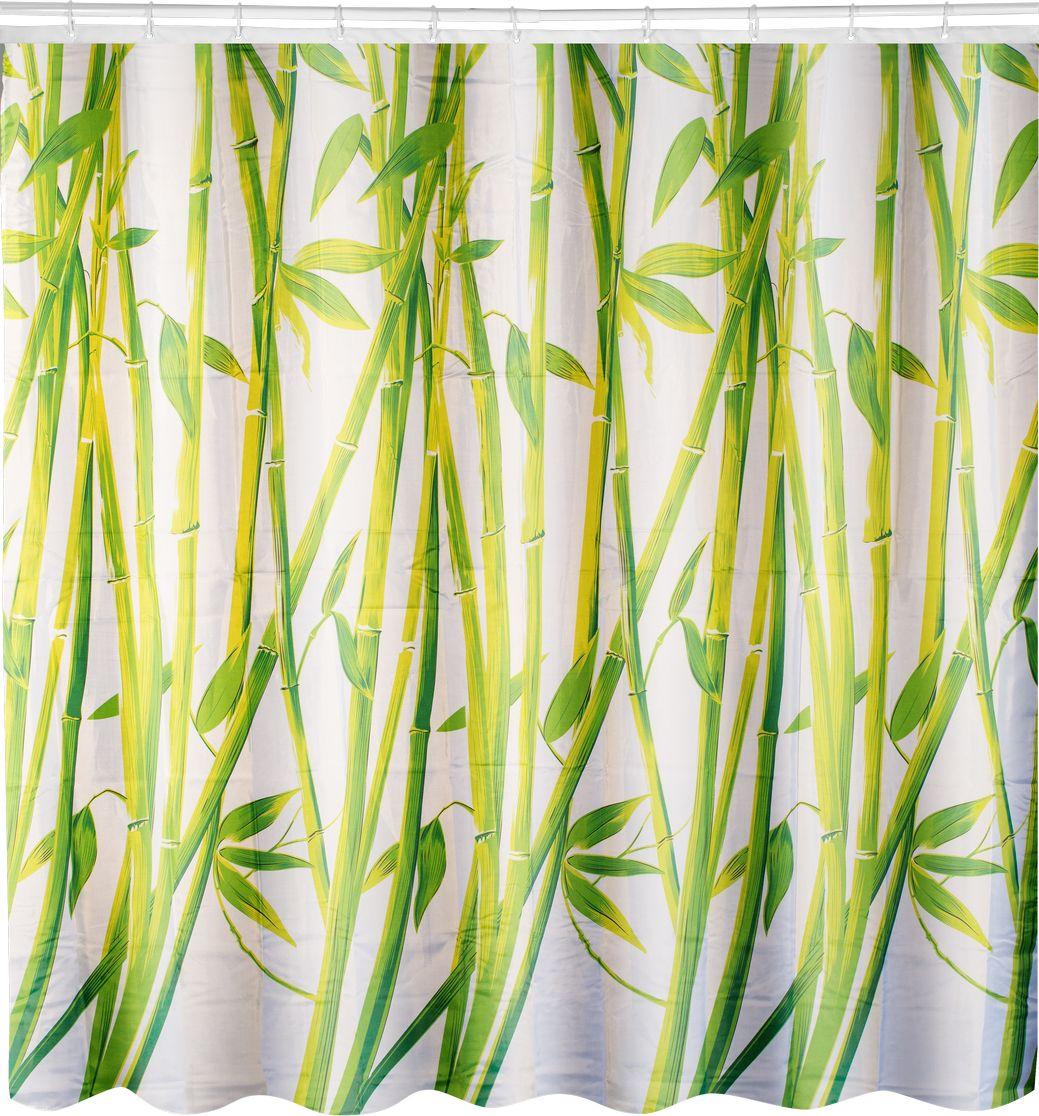 цена на Штора для ванной Swensa Бамбук, цвет: зеленый, 180 х 180 см
