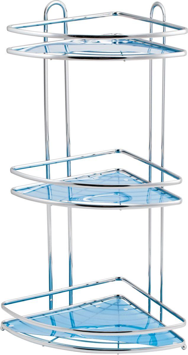 Полка для ванной Swensa Премиум, 3-ярусная, угловая, цвет: хром полка для ванной swensa 3 ярусная цвет хром