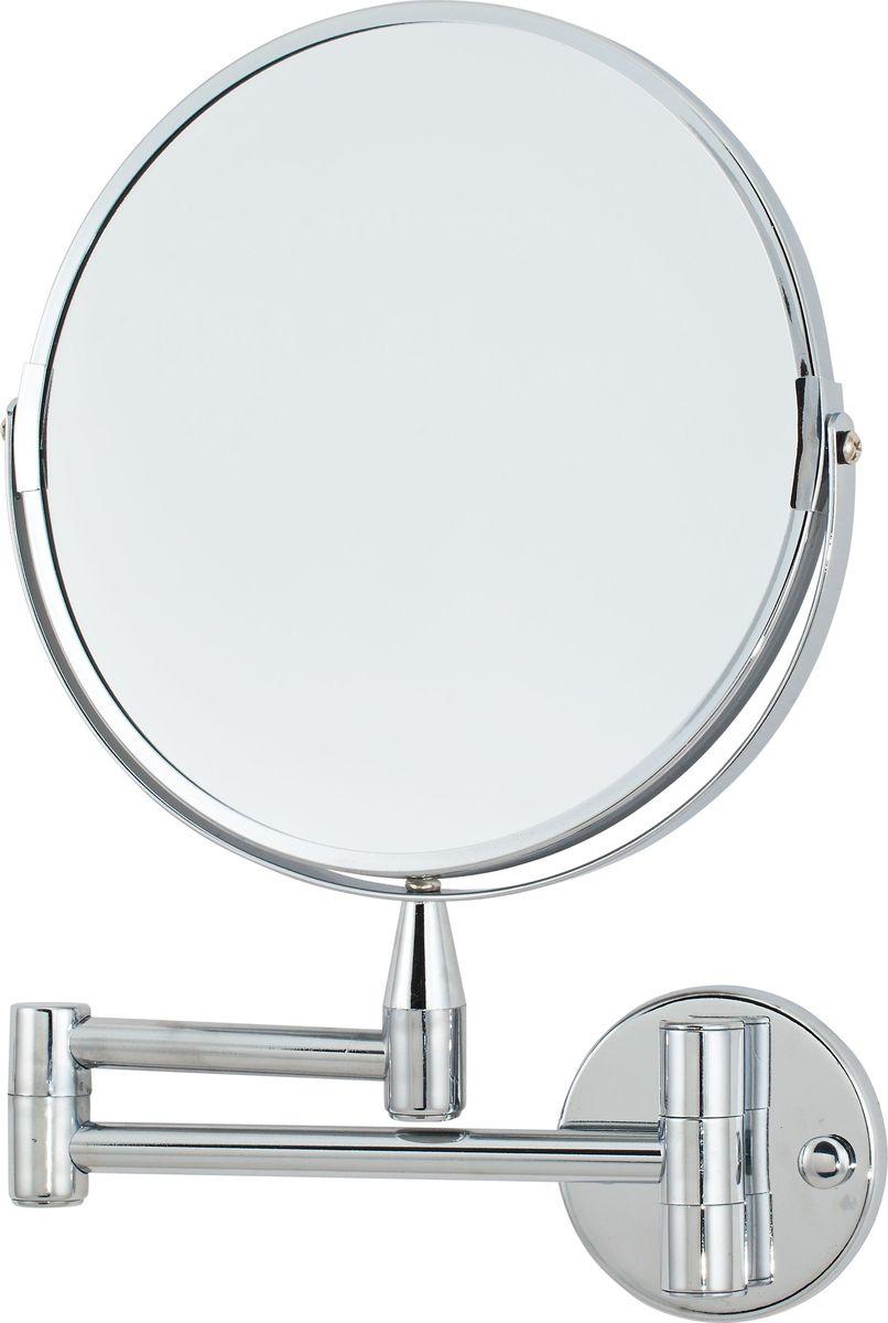 Зеркало косметическое Del Mare, настенное, цвет: хром, диаметр 20 см косметическое зеркало на кронштейне heritage aha16