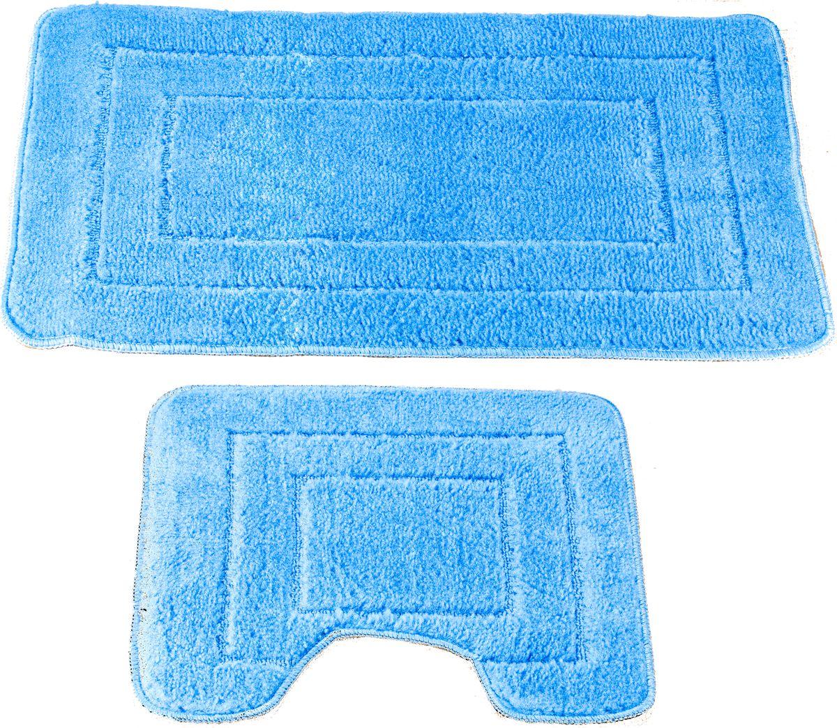 """Набор ковриков для ванной Swensa """"Como"""", цвет: голубой, 45 х 70 см, 45 х 45 см, 2 шт"""