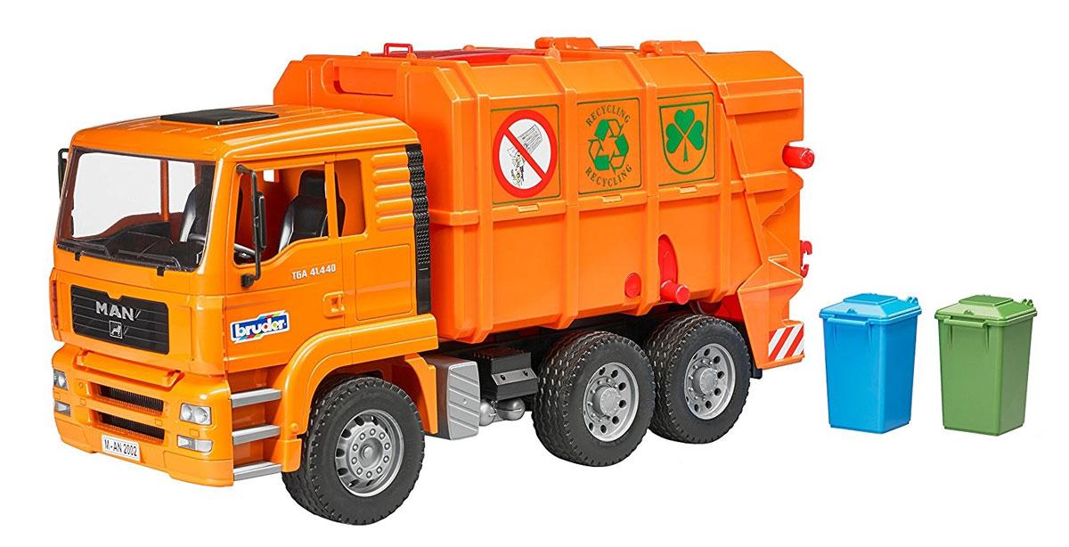 Bruder Мусоровоз MAN TGA цвет оранжевый шины для системы сдвоенных колес bruder 03 30