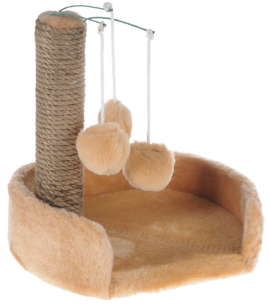 Когтеточка для котят Меридиан, с лежанкой, цвет: светло-коричневый, бежевый, 34 х 26 х 34 см когтеточка для котят меридиан цветы двойная цвет белый светло коричневый 30 х 20 х 34 см