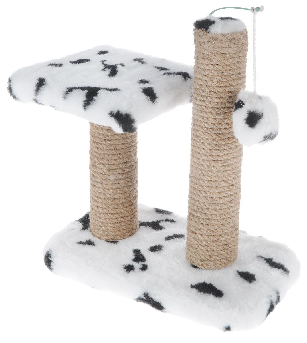 Когтеточка для котят Меридиан, двойная, цвет: белый, черный, бежевый, 30 х 20 х 34 см когтеточка для котят меридиан цветы двойная цвет белый светло коричневый 30 х 20 х 34 см