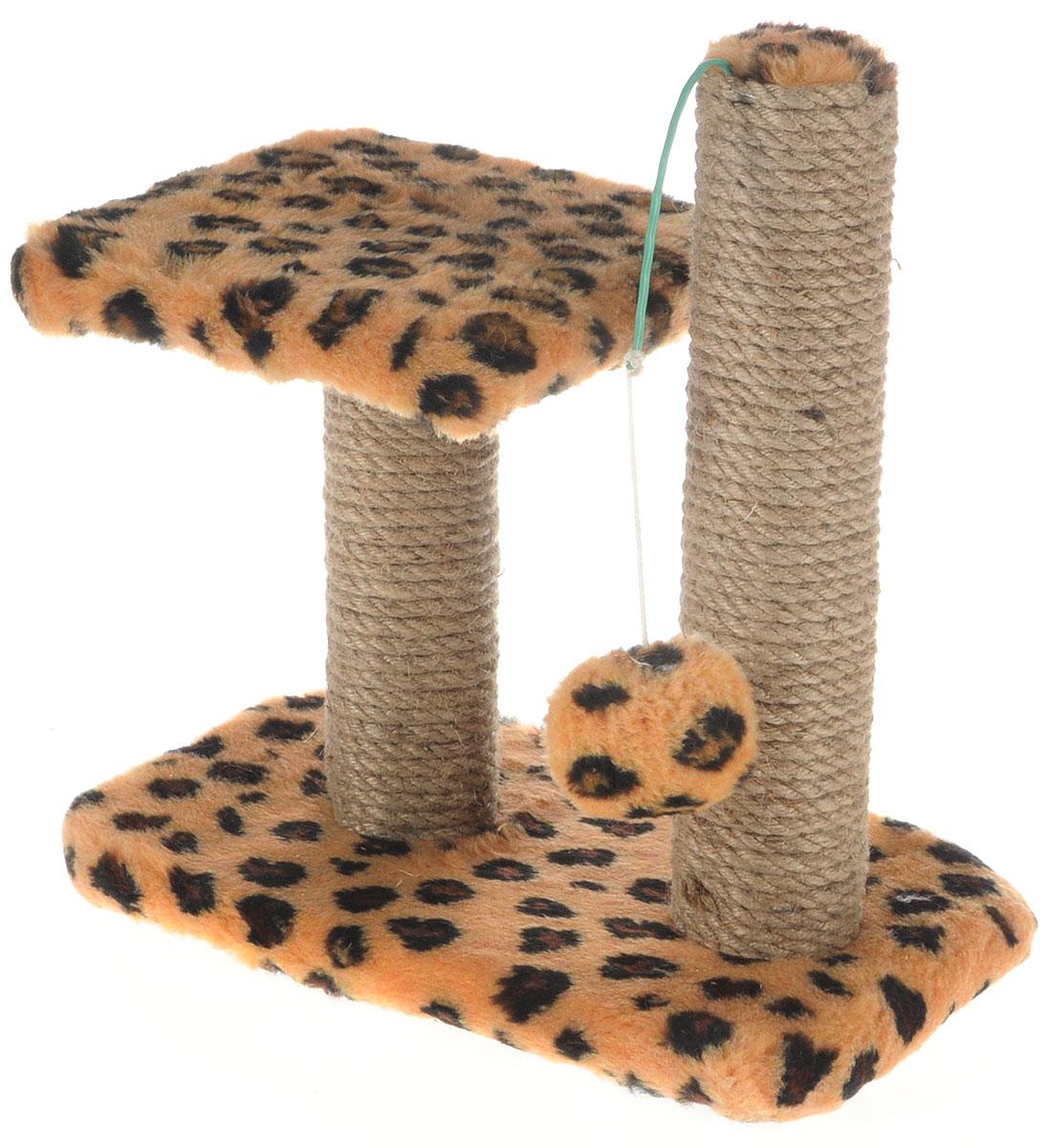 Когтеточка для котят Меридиан, двойная, цвет: коричневый, черный, бежевый, 30 х 20 х 34 см когтеточка для котят меридиан цветы двойная цвет белый светло коричневый 30 х 20 х 34 см