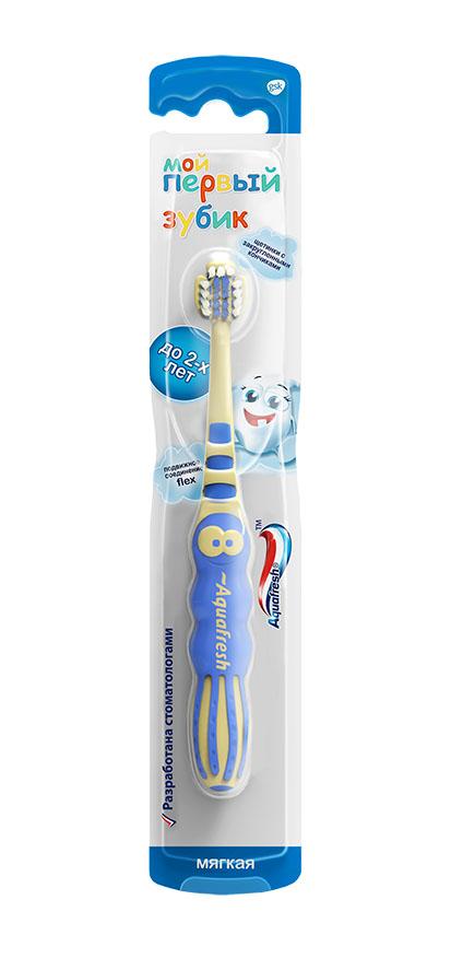 Aquafresh Зубная щетка детская Мой первый зубик 0-2 лет, в ассортименте20021521Тип: зубная щетка детская. Возраст: от 0 до 2 лет.Степень жесткости: мягкая.Основные эффекты: мягко и тщательно очищает, массирует, обладает привлекательным для детей дизайном, не повреждает нежную детскую слизистую.Отличительные особенности: • яркая, заметная, эта щеточка точно станет любимым другом вашего малыша; • головка изготовлена из мягкой, упругой синтетической нити, щетинки расположены неравномерно, для того, чтобы лучше прочистить труднодоступные места; • рабочая головка щетки мягкая, не повреждает ни ранимую детскую зубную эмаль, ни нежную слизистую полости рта; • размер головки идеально соответствует анатомическим особенностям детей от 0 до 2 лет; • материал, из которого изготовлена щетка, легко поддается обработке, и щетку легко мыть и содержать в чистоте.