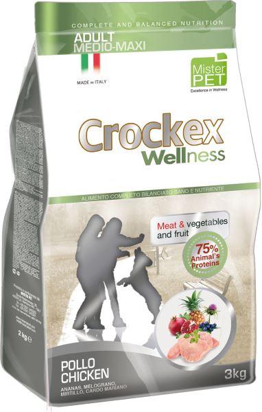 """Корм сухой """"Crockex Wellness"""" для собак средних и крупных пород, с курицей и рисом, 12 кг"""