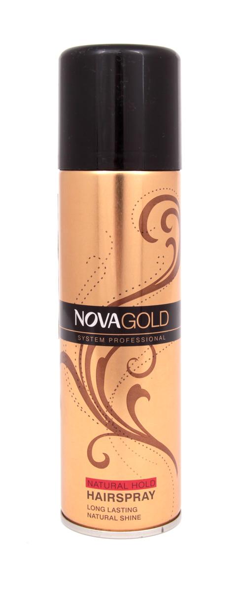 Золотистый лак для волос Nova GOLD с протеинами шёлка 200 мл (красный) лак д волос нова голд золотистый с протеинами шёлка 200мл красный