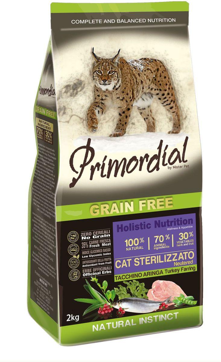 """Корм сухой """"Primordial"""" для стерилизованных кошек, беззерновой, индейка и сельдь, 2 кг"""