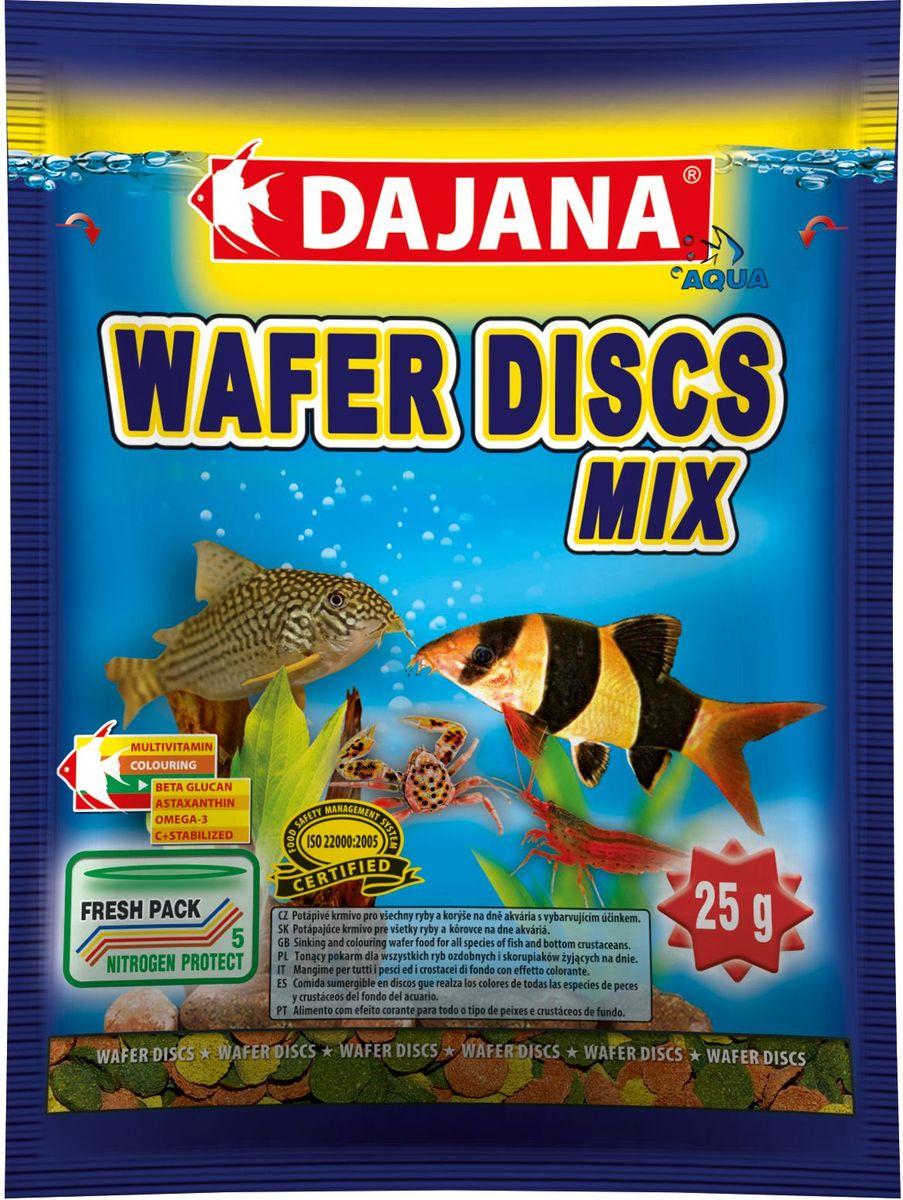 Корм для рыб Dajana Wafers Discs Mix, 80 млDP061SПолнорационный корм в виде цветных тонущих дисков для рыб и донных ракообразных, живущих на дне пресноводных и морских аквариумов. Три типа специальных пластинок содержат природный антиоксидант Astaxanthin, морские водоросли, природный иммуномодулятор Бета-глюкан в оптимальной сбалансированной формуле. Корм Dajana Wafer Discs Mix не мутит воду в аквариуме. Состав: растительные белковые концентраты, моллюски, морские водоросли, рыба и рыбные субпродукты, зерновые, сухие дрожжи, чеснок, водоросль спирулина, жиры, лецитин, антиоксиданты. Товар сертифицирован.