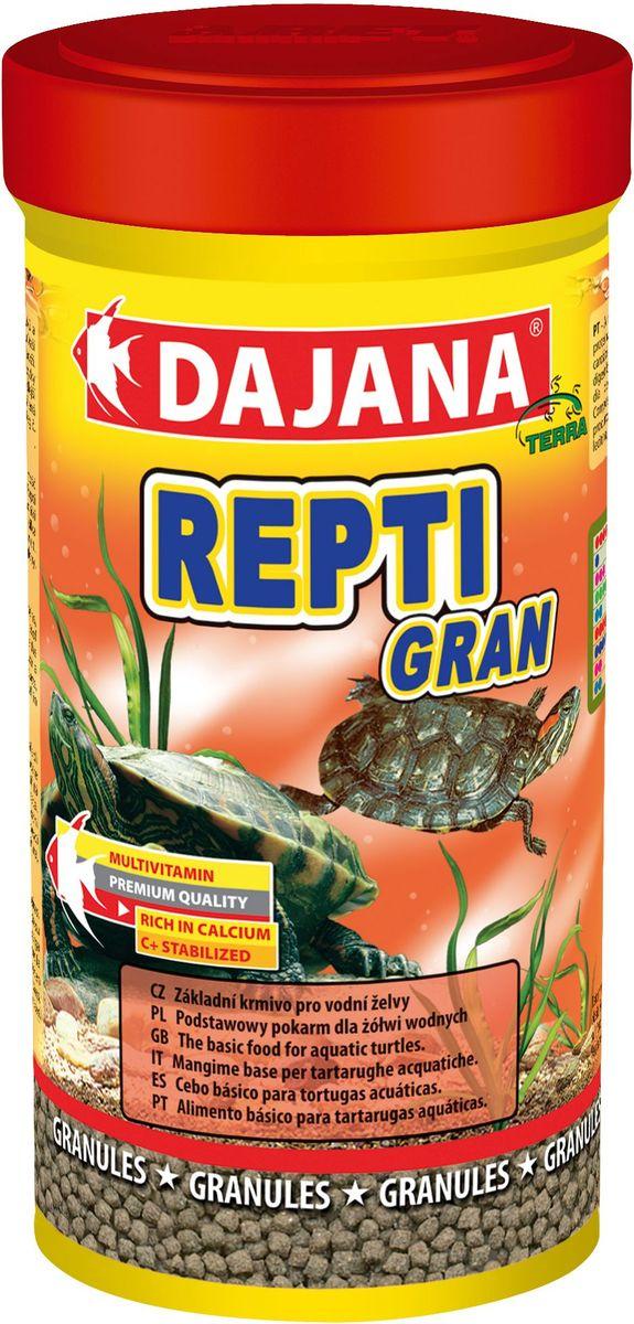 Корм для водных черепах Dajana Repti Gran, 250 мл корм аква меню терра для водных черепах в виде плавающих гранул 15 г