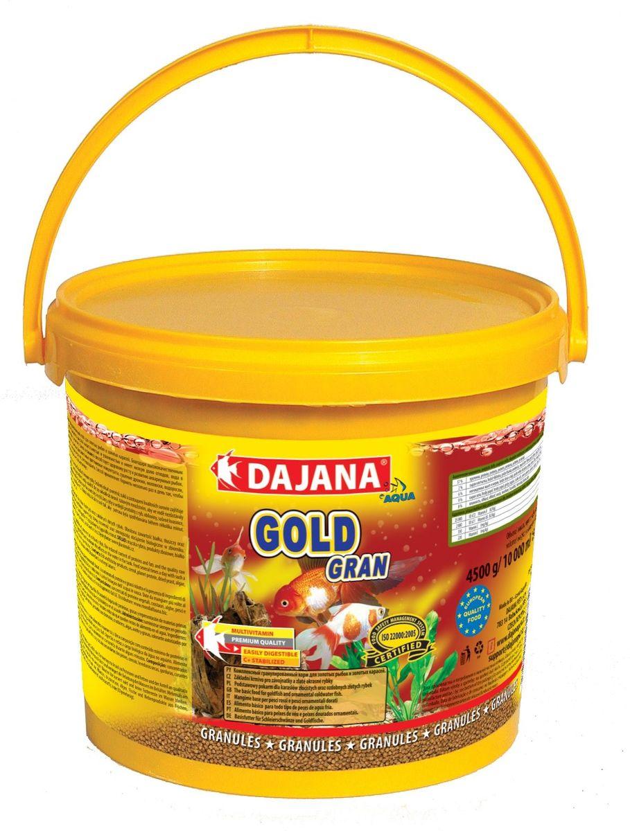Корм для рыб Dajana Gold Gran, 5 лDP101FКомплексный корм в виде гранул для всех видов золотых рыб, включая их различные селекционные формы. При ежедневном использовании корма, вы можете рассчитывать на здоровый рост и великолепную форму ваших золотых рыб.Гранулированный корм содержит все необходимые питательные вещества высокого качества, стабилизированный витамин С, который улучшает иммунитет к инфекционным заболеваниям и стрессоустойчивость. Корм состоит из высококачественных, натуральных ингредиентов, поэтому хорошо усваивается и имеет низкую долю отходов. Состав: рыбная мука, зерновые, растительные протеиновые концентраты, сушеные дрожжи, моллюски, водоросли, растительные масла и жиры, лецитин, антиоксиданты.