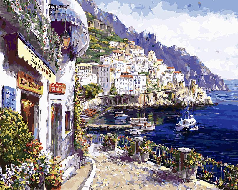 Живопись на холсте Белоснежка Утренний городок, 40 х 50 см живопись на холсте курортный городок 40 х 50 см