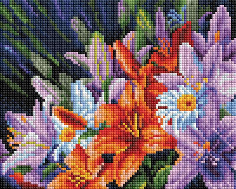 """Алмазная мозаика на холсте Белоснежка """"Лилии из сада"""", 20 х 25 см"""