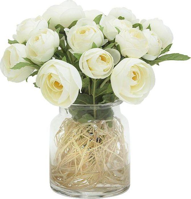 Фото - Цветы декоративные Dream Garden Купальницы белые, в стеклянной вазе цветы