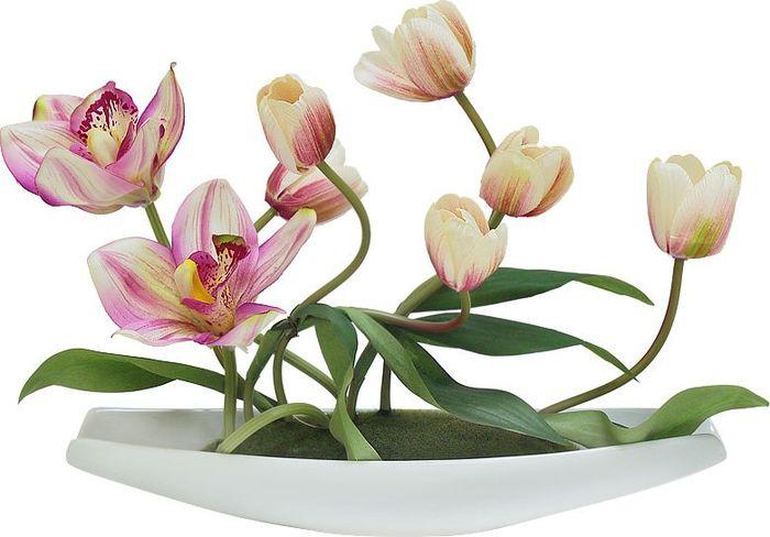 Цветы декоративные Dream Garden Тюльпаны светлые с орхидеями, на подставкеDG-JA6069Композиции из искусственных цветов в оригинальных вазах и вазонах из керамики, стекла, металла - для декоративного оформления интерьеров квартир, домов, офисов, ресторанов, кафе, банкетных залов, номеров и холлов отелей, салонов красоты, фитнес-клубов. Композиции не уступают красоте живых цветов, подчеркивают индивидуальность и создают цветочное настроение! Композиции из искусственных цветов долговечны, не требуют ежедневного ухода, выполнены из натуральных шелка и текстиля, прошедших специальную обработку высококачественными современными материалами. Искусственные цветы максимально приближены к натуральным, не пахнут, что исключает все аллергические реакции. Композиции из искусственных цветов - это прекрасный подарок в любой дом!