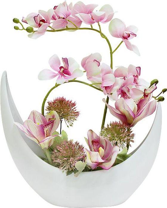 Фото - Цветы декоративные Dream Garden Орхидея розовая, в керамической вазе цветы
