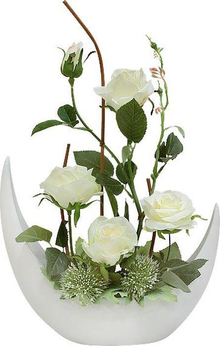 Фото - Цветы декоративные Dream Garden Розы белые, в керамической вазе цветы