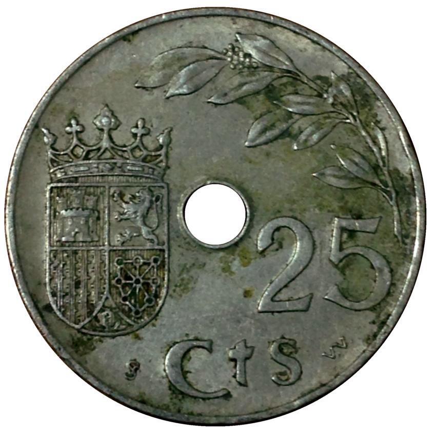 Монета номиналом 25 сентимо. Медно-никелевый сплав. Испания, 1937 год монета номиналом 5 рублей успенский собор в москве медно никелевый сплав ссср 1990 год