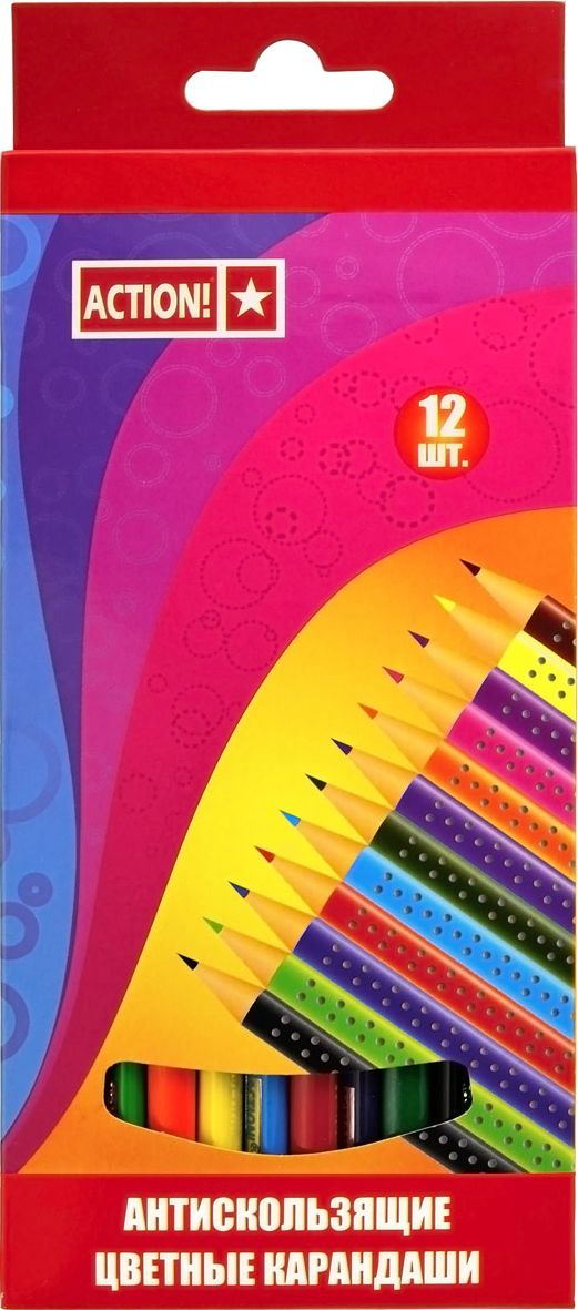 Action! Набор цветных карандашей антискользящих 12 цветов карандаши bruno visconti набор карандашей цветных disney белоснежка 6 цветов
