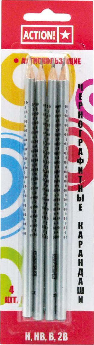 Action! Набор чернографитных карандашей антискользящих 4 шт цены онлайн