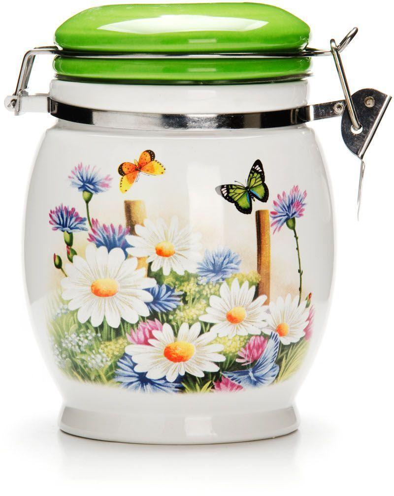 банка для сыпучих продуктов loraine розы и бабочка 750 мл Банка для сыпучих продуктов Loraine Лето, 750 мл