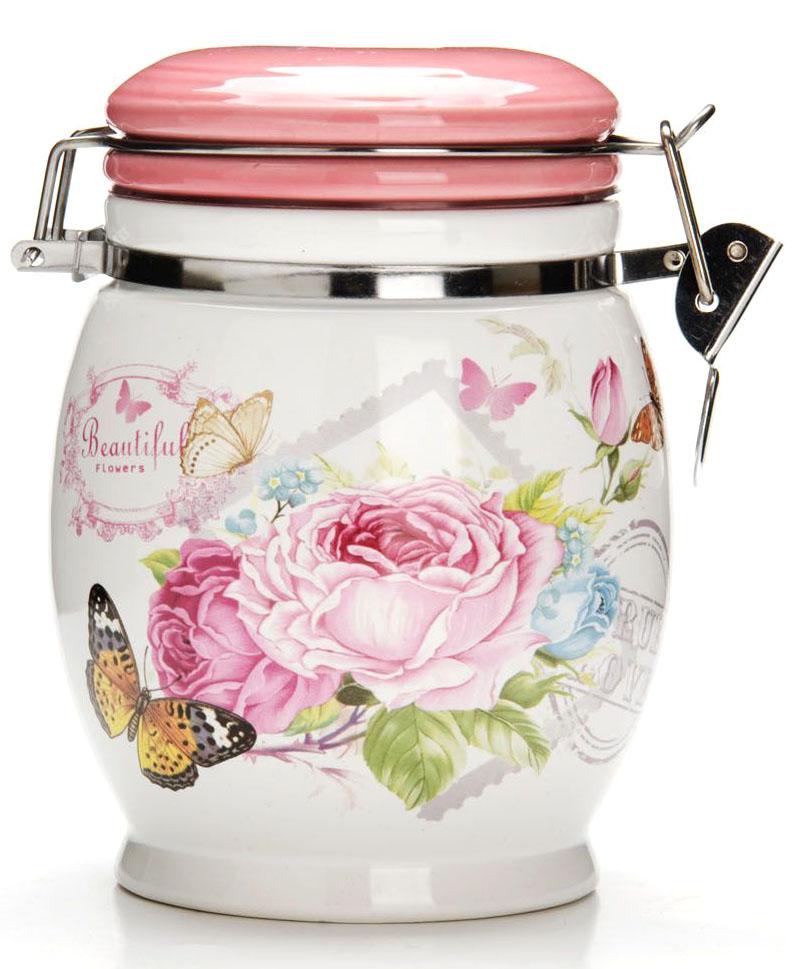банка для сыпучих продуктов loraine розы и бабочка 750 мл Банка для сыпучих продуктов Loraine Батерфляй, 750 мл
