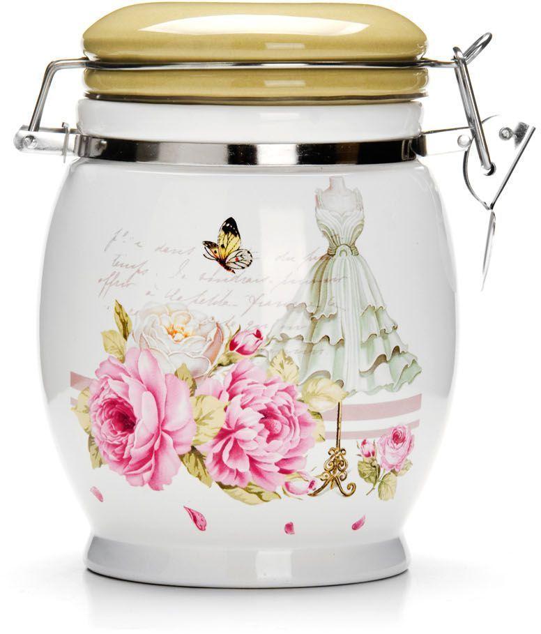 банка для сыпучих продуктов loraine розы и бабочка 750 мл Банка для сыпучих продуктов Loraine Пионы, 750 мл