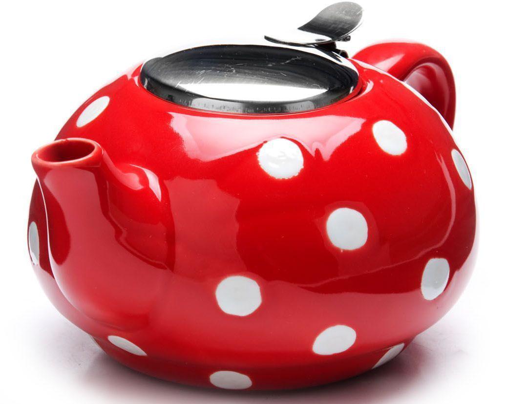 Заварочный чайник Loraine, цвет: красный, белый, 750 мл. 26596-1 чайник заварочный loraine lr 24849 1