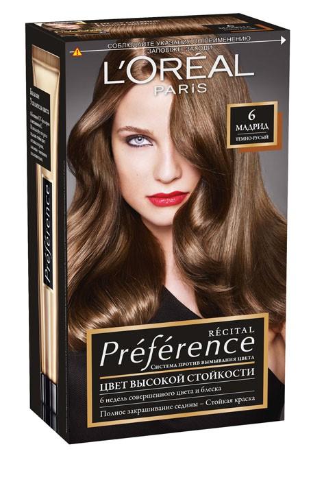 L'Oreal Paris Стойкая краска для волос Preference, оттенок 6, Мадрид l oreal paris стойкая краска для волос preference оттенок 9 1 викинг