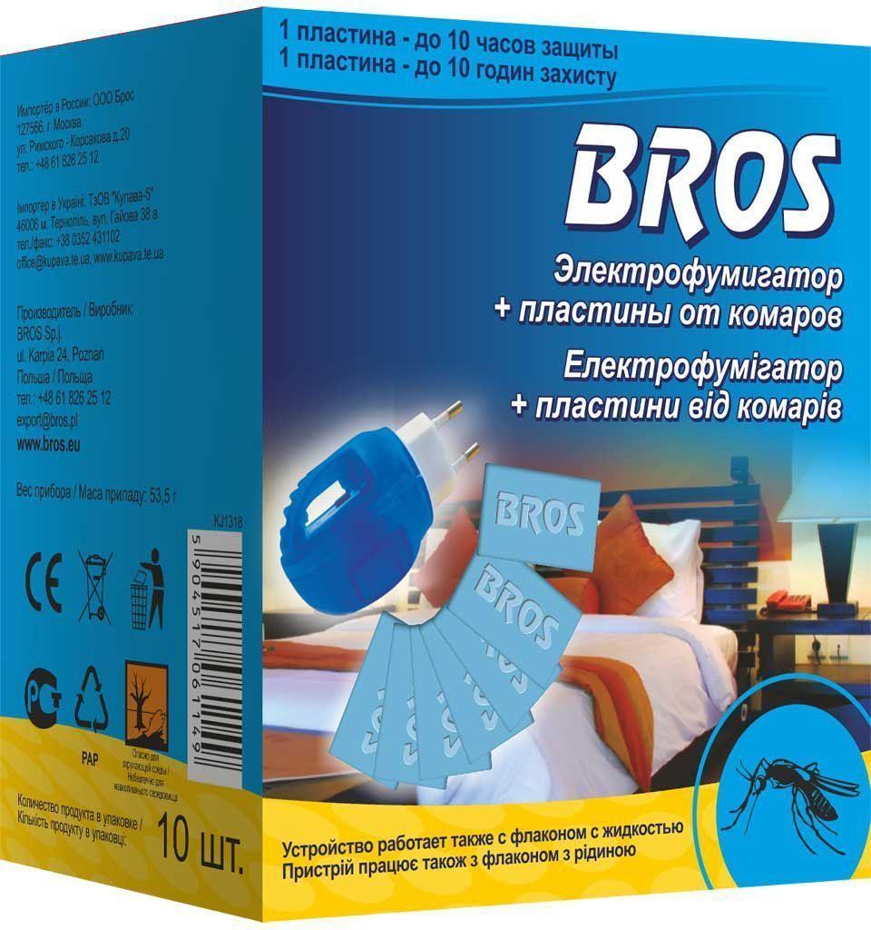 Электрофумигатор Bros, с пластинами от комаров, 10 шт рейд электрофумигатор пластины от комаров 10шт