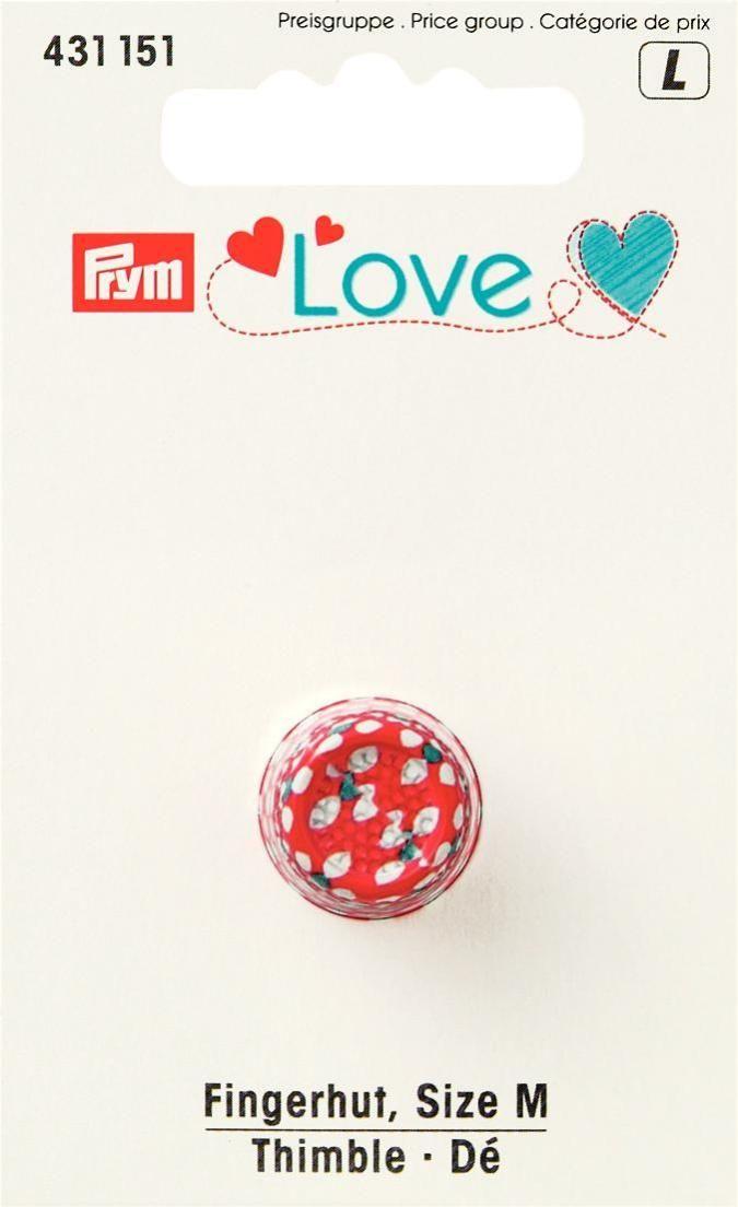 Наперсток Prym Love, цвет: красный, белый, серебристый, размер M кейс для рукоделия prym цвет коричневый