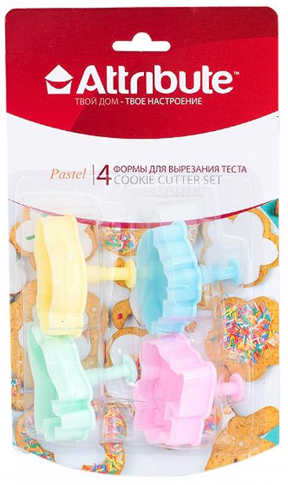 Набор форм для вырезания теста Attribute Pastel, в ассортименте, 4 шт набор форм для вырезания теста attribute cookie 4 шт atv519