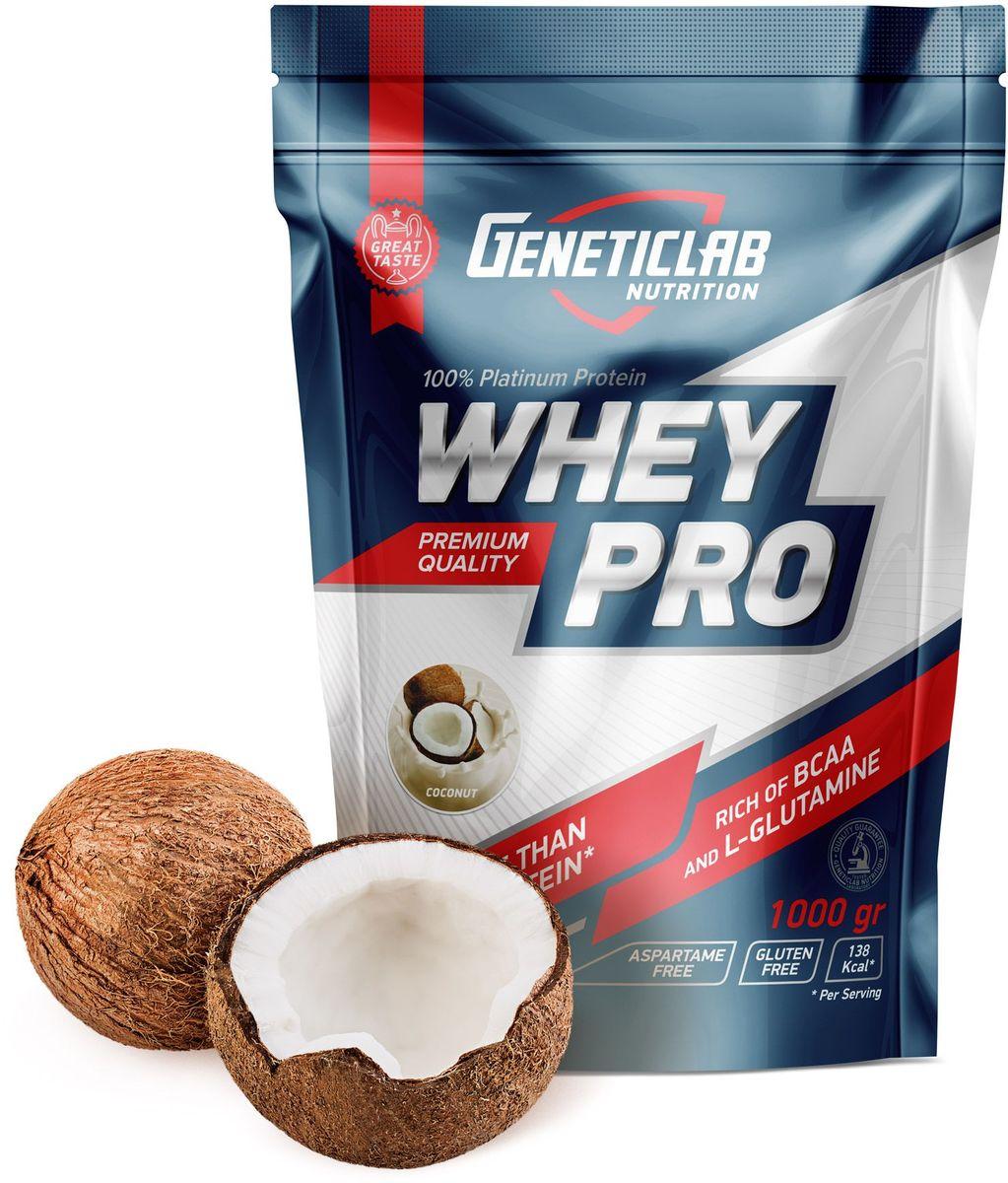 Протеин сывороточный Geneticlab Whey Pro, кокос, 1 кг протеин сывороточный red star labs beowulf whey pro клубничный десерт 1 8 кг