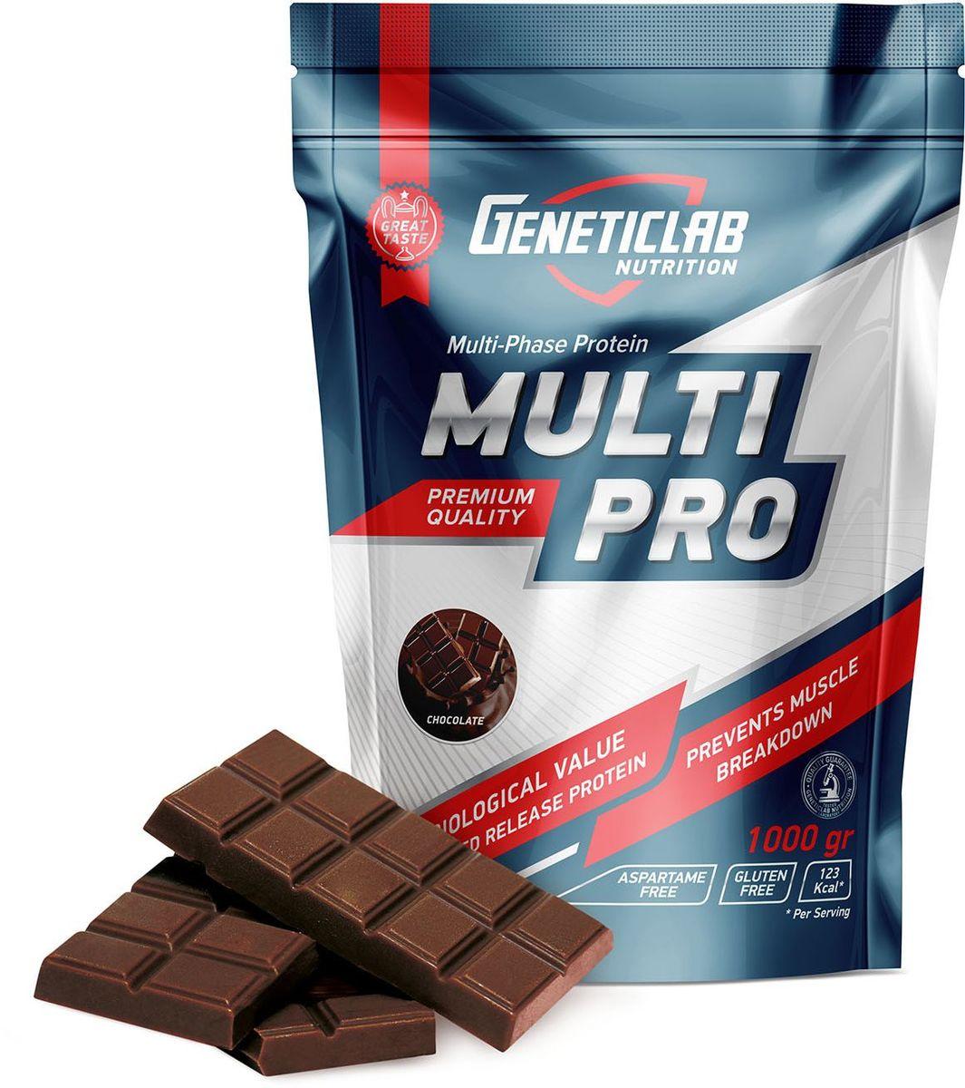 Протеин Geneticlab Multi Pro, шоколад, 1 кг4156634Протеин Geneticlab Multi Pro защищает организм от катаболизма, дает чувство насыщения, улучшает восстановление, обмен веществ и положительно сказывается на всех системах организма. Multi Pro объединяет в себе несколько видов протеина на основе растительных и животных белков (казеин, яичный белок, сывороточный белок). Благодаря такому сочетанию, вы получите спортивное питание с максимальной концентрацией аминокислот (в том числе L-лейцин, L-изолейцин, L-валин), которое обеспечивают мышцы необходимыми полезными веществами длительный период времени. Как повысить эффективность тренировок с помощью спортивного питания? Статья OZON Гид