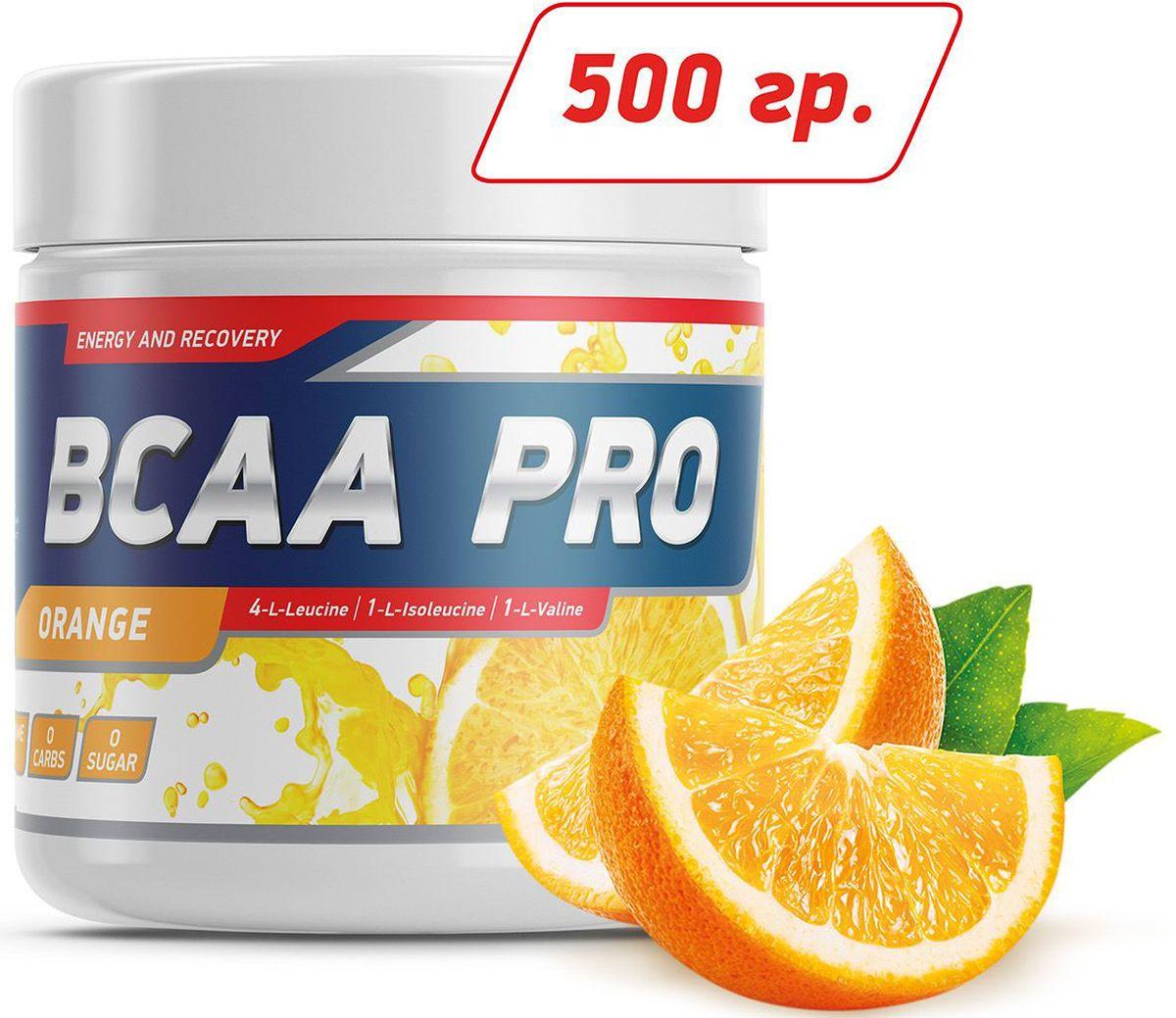 Аминокислоты Geneticlab BCAA Pro, апельсин, 500 г аминокислоты geneticlab nutrition glutamine powder без вкуса 500 г
