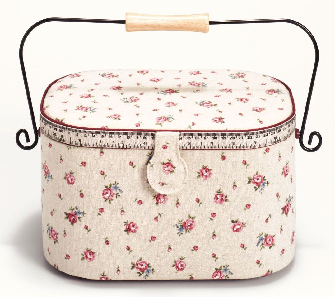 Шкатулка для рукоделия Prym Страна роз, цвет: бежевый, розовый, 30 х 20,5 х 19 см кейс для рукоделия prym цвет коричневый