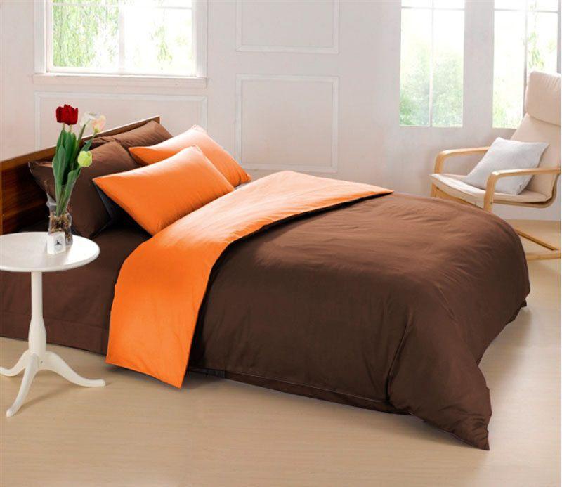 Комплект белья Sleep iX Perfection, 2-спальный, наволочки 70х70, цвет: оранжевый, темно-коричневый комплект белья sleep ix perfection семейный наволочки 50х70 70х70 цвет оранжевый темно коричневый