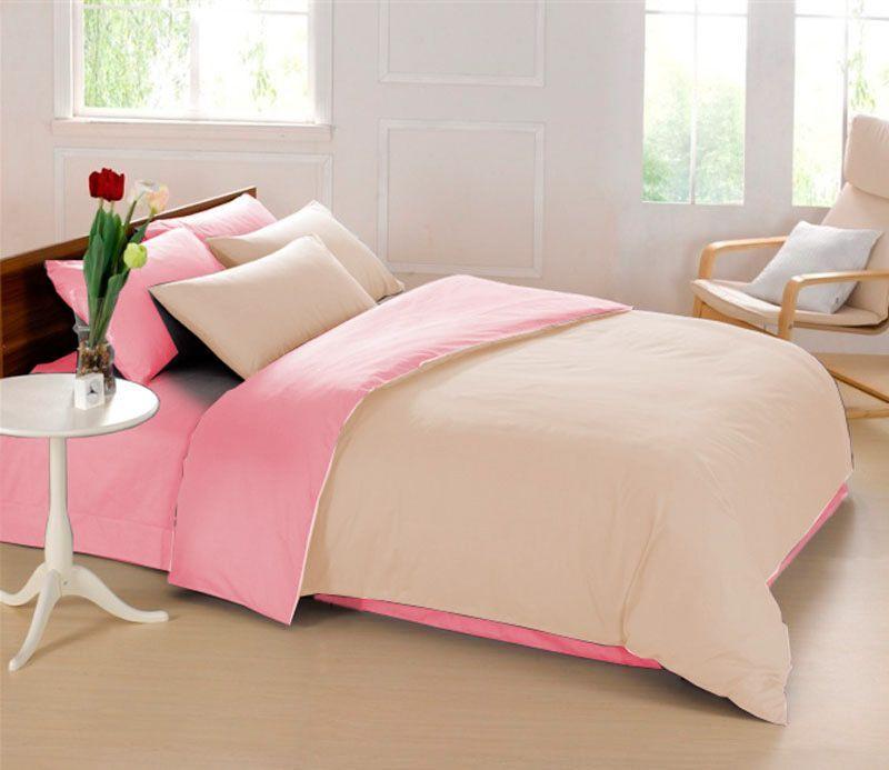 Комплект белья Sleep iX Perfection, 2-спальный, наволочки 70х70, цвет: бежевый, розовый. pva215365 комплект белья sleep ix perfection семейный наволочки 50х70 70х70 цвет оранжевый темно коричневый